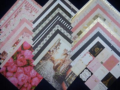12X12 Scrapbook Paper Cardstock DCWV Paris Pink RomanticTravel Eiffel Tower 36 - Pink Scrapbook Paper