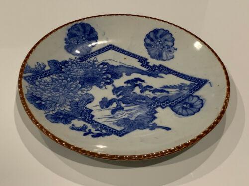 Antique Japanese Signed Porcelain Igezara Plate Blue & White Landscape Fuji Dec.