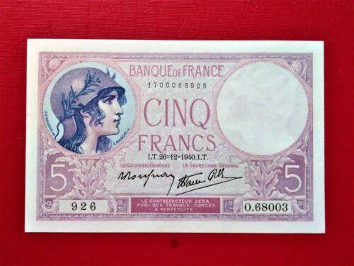 1940 France 5 Francs Banknote @ UNC