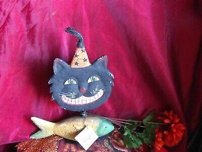 VINTAGE BETHANY LOWE HALLOWEEN PAPIER MACHE BLACK CAT NODDER