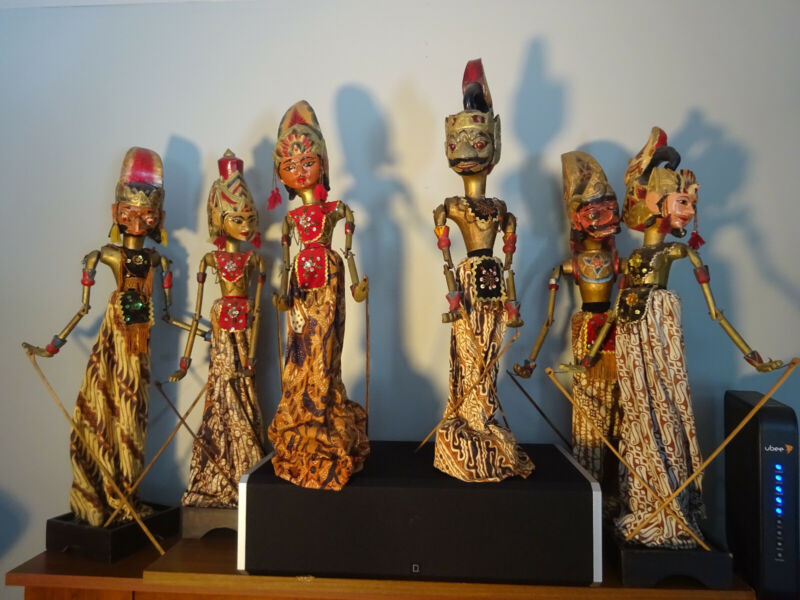Six Vintage Indonesian Rod Puppets with Stands