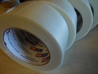 4 Rolls 2 X 60 Yds Fiberglass Reinforced Filament Strapping Packing Tape Clear