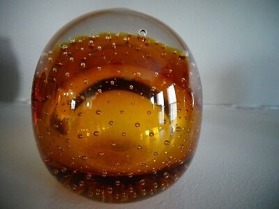 Amber Paperweight - Vintage Robert Hamon Art Glass AMBER Controlled Bubble Paperweight