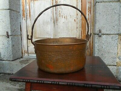 Large old vintage French copper cauldron/hanging pot/planter/jardiniere hole