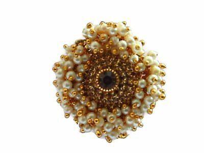 Indian Ring Designs (Indian Designer Ring Bollywood GoldTone Bridal Adjustable Pearls Fashion)