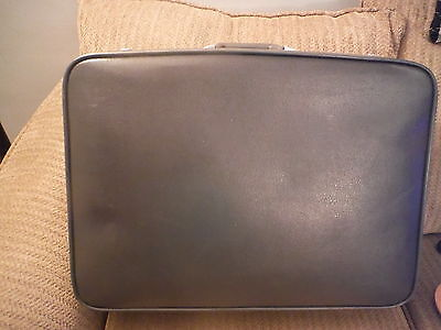 VINTAGE Blue Leather Or Vinyl Featherlite Luggage Suitcase 24 X 18 X 7  - $49.94
