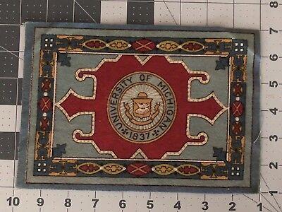 "Antique Tobacco Felt Flannel 5X8""  University of Michigan rug Good Original Cond"