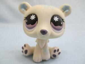 Littlest Pet Shop Polar Bear 470 White/Blue Flower w/ Purple Eyes 100% Authentic