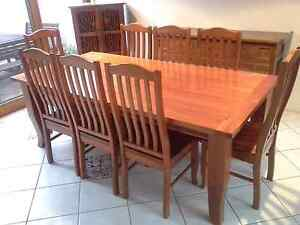 Timber Dining Table 9 piece Hamilton Newcastle Area Preview