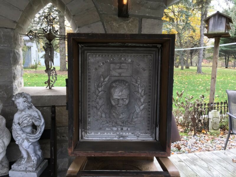 "REV. JOHN G MITCHELL PLASTER DEATH MASK MEMORIAL ENCASED ANTIQUE 36""TALL"