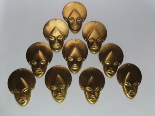 """VTG Brass African Mask Head Stampings 2 1/4"""" """"10 PCS"""""""