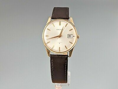 Vintage Seiko Mens Watch 17 Jewels Gold Plated With Date Window 6602-1990