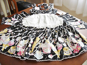 Metamorphose Sweet Lolita Black Ice Cream Print Apron JSK Dress & Headband NWT
