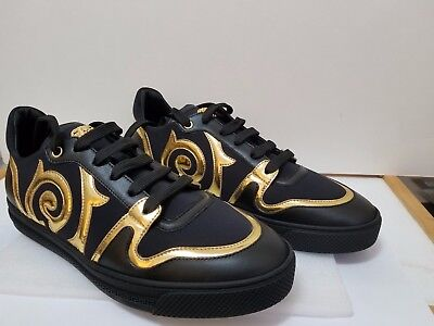 Versace Men Medusa BAROCCO LOW-TOP Black and Gold color SNEAKER Size EU 42/ US 9