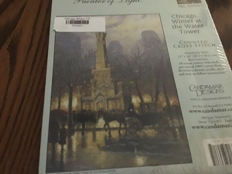 thomas kinkade cross stitch kit 51653 Chicago Winter At The Water Tower