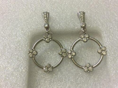 Judith Ripka Sterling Silver Cubic Zirconia Dangle Hoop Clip On  Earrings