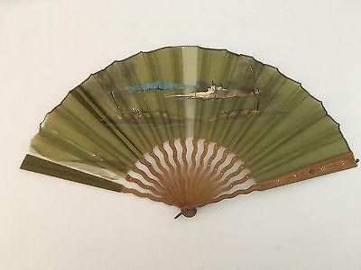 19th Century Large Ladies Green Gauze Hand Fan With Asian Landscape Castle Scene