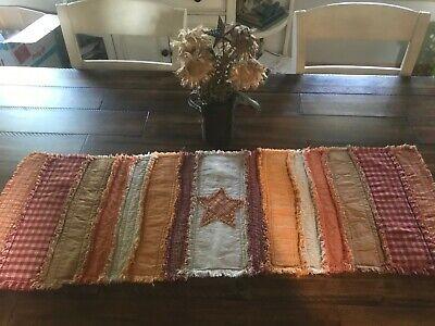 PriMiTivE Rag Quilt Table Runner Fall Harvest Orange Yellow Tan Striped (Fall Orange Runner)