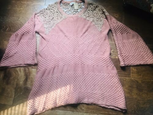 Anthropologie Easel Fall Lace Bell Sleeve Sweater Boho Tunic