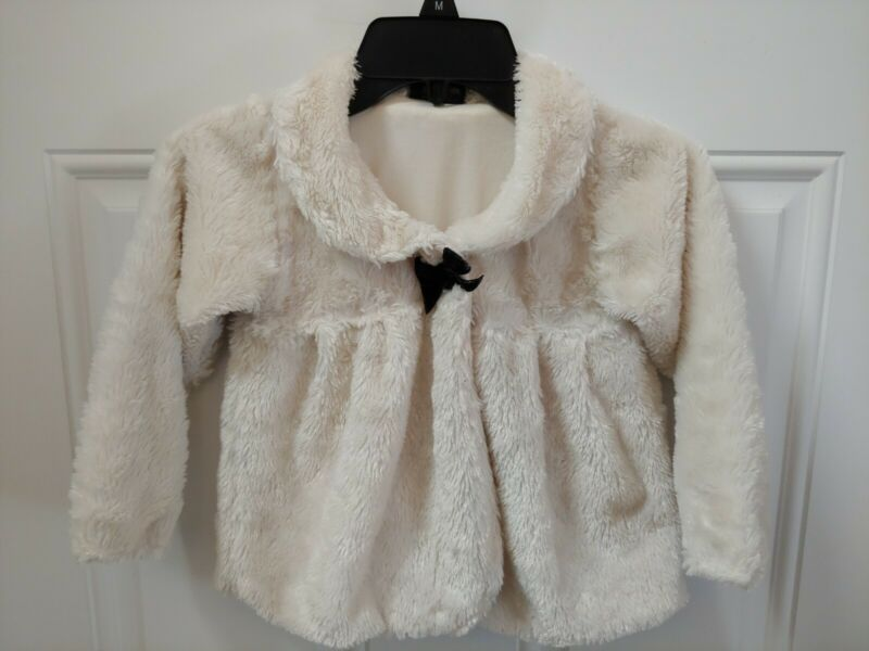 GIRLS RULE Toddler Cost Size 5 Fuzzy Soft Cream Ivory Color One Button Front