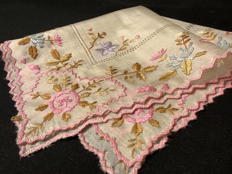 #6975🌟Antique c1800s COLORFUL Floral Silk HEAVY Embroidery Wedding Handkerchief