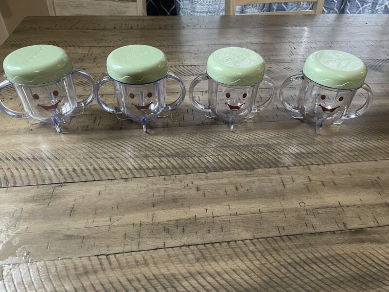 Baby Bullet Food Blender Processor Short Cup With Lid Replacement Parts Set Of 4