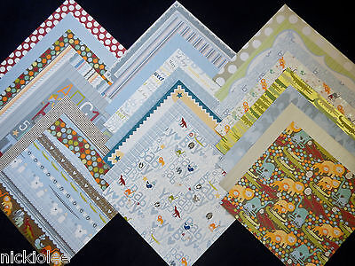 12X12 Scrapbook Paper Cardstock Baby Boy Blue Green Animals Nursery 24 Lot MAMBI