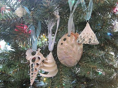 Beach Decor Christmas Seashell Handmade Ornament Set (4PC) - Nautical - Shells](Beach Christmas Decorations)