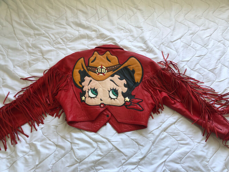 Betty Boop Cowboy red leather jacket