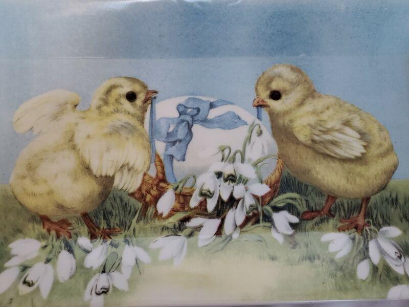 """Grace Fine Porcelain Easter Rectangle Tray Platter 6.5"""" X 14"""" Baby Chicks & Egg"""