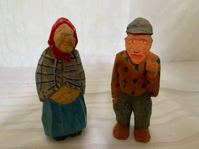 Vintage Wood Swedish Carved Folk Art Figurines  - TRYGG style