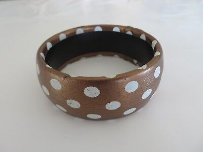 Classic Brown and White Polka Dot Bangle Bracelet Approx 3