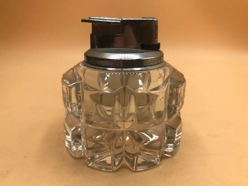 Vintage Hand Cut Solid Glass Crystal Tabletop Lighter  Pattern