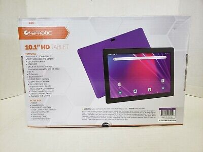 "Ematic 10.1"" HD Android Tablet w/Keyboard Folio Case & Headphones Bundle"