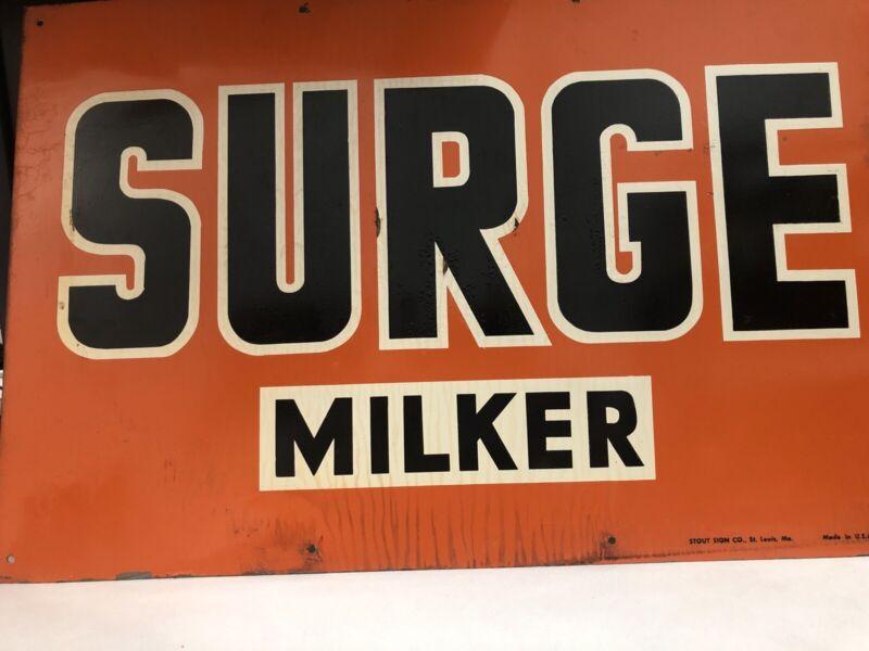 Original Vintage Orange Surge Milker Tin Metal Sign Stout Sign Co