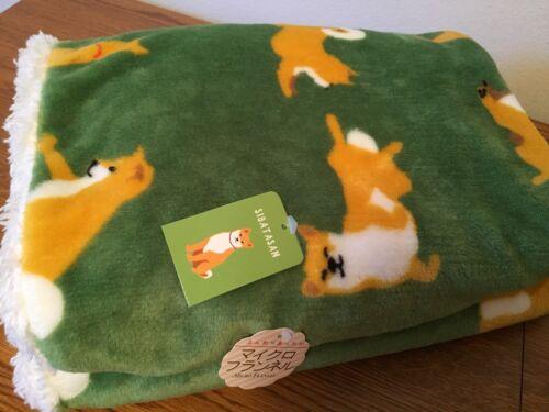 Shiba Inu Boa Blanket -2-ply Soft & smooth [GREEN] Shiba-Inu design FreeShip