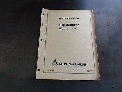 Allis-chalmers Model Wk Disc Harrow Parts Catalog Manual