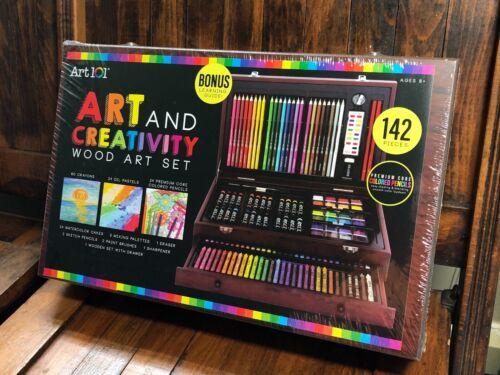 New Art Set 142 Piece Artist Kit Pencils Pastels Watercolor Wood Case Cabinet