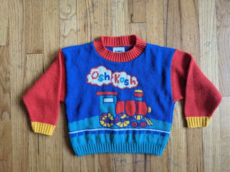 Vintage Oshkosh Bgosh Spell Out Color Block Train Knit Kids Pullover Sweater 6 7