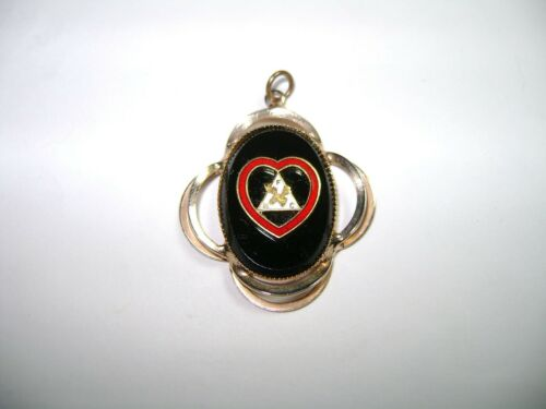 Vintage FHC Heart Black Glass Gold Loyal Order Moose Faith Hope Charity Pendant