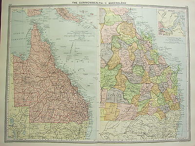1920 LARGE MAP ~ AUSTRALIA QUEENSLAND ~ BRISBANE ENVIRONS KIMBERLEY ABERDEEN etc