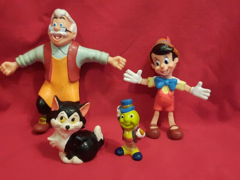 "Disney Pinocchio Geppetto, Jiminy & Figaro PVC Figures  large 2""- 5"" H Set of 4"