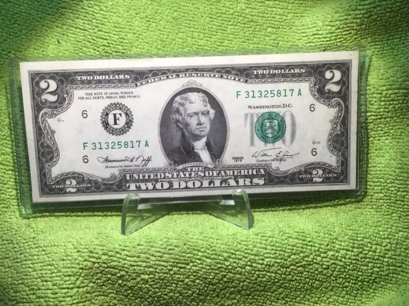 3 - 1976 $2 FEDERAL RESERVE NOTES AU & 1 - 1957 $1 SILVER CERTIFICATE