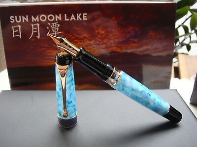 2018 NEW AURORA SUN MOON LAKE II AUROLOIDE NEW 18K FLEX R,GOLD nib FOUNTAIN PEN