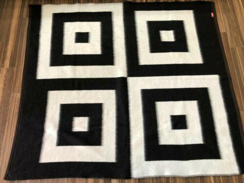Santa Catalina Alpaca Blanket 84x74 Peruvian - Squares White/Black Reversible B