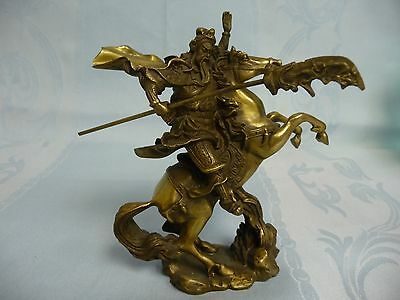 PRE-OWNED BRONZE CHINESE WARRIOR ON REARING HORSE