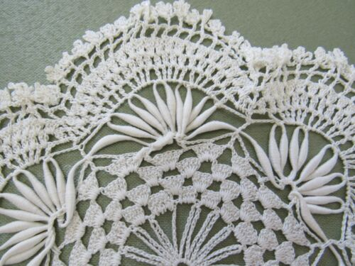Antique Handmade Doily Ornate Crochet Lace CORONATION CORD Ivory 7-1/2""