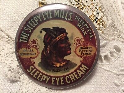 "Sleepy Eye Cream Flour Mill Minn Minnesota Adverting Pocket Hand Mirror 2-1/4"""