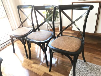 Three cross back French provincial chairs