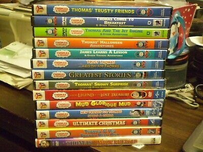 (18) Thomas & Friends Children's DVD Lot: Christmas Halloween James Jet Engine